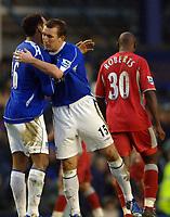 Photo: Paul Greenwood.<br />Everton v Blackburn Rovers. The Barclays Premiership. 10/02/2007. Everton's Joleon Lescott, left, and Alan Stubbs celebrate at the final whistle