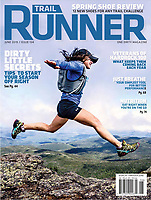 Trail Runner Magazine Cover - June 19<br /> Becca Coryea jumps for joy near the summit of Mt Marcy, New York.