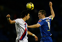 Photo: Steve Bond/Richard Lane Photography. Leicester City v Crystal Palace. E.ON FA Cup Third Round. 03/01/2009. Jose Fonte (L) gets his head to the ball in front of Steve Howard (R)