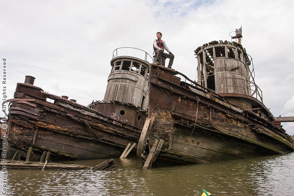 Barry on bow of Pennsylvania Railroad Tug Transfer #21, on left is Tug Transfer #16