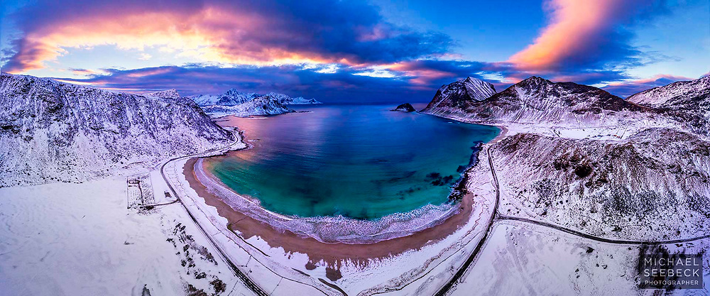 An evolving sunset over Hauklund Beach on the Lofoten Peninsula.<br /> <br /> Limited Edition of 125