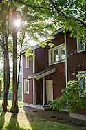 Falurött hus i Sweden Hills, Hokkaido, Japan