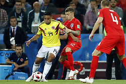 (l-r) Luis Muriel of Colombia, Kieran Trippier of England during the 2018 FIFA World Cup Russia round of 16 match between Columbia and England at the Spartak stadium  on July 03, 2018 in Moscow, Russia