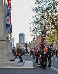 Orange men of the Orange order lay wreaths at the Cenotaph London.<br /> <br /> Richard Hancox | EEm 13042019