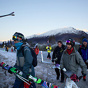Competitors head to the early morning helicopter pick up point during the World Heli Challenge Freestyle Day at Mount Albert on Minaret Station, Wanaka, New Zealand. 31st July 2011