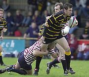 Esher, Surrey. ENGLAND.<br /> <br /> Photo Peter Spurrier<br /> 04/05/2002<br /> Sport - Rugby Union<br /> Tetley's County Championship 1 st Rd<br /> Surrey vs Cornwall<br /> Cornwall No.8 Joe Bearman on the break