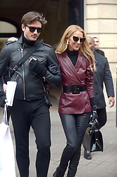 Celine Dion and Pepe Munoz leave Givenchy show room during Paris Fashion week<br /> Paris,January 24 th 2019