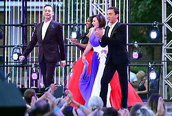 Craig Revel Horwood (left), Motsi Mabuse, Shirley Ballas and Bruno Tonioli (right) arriving at the red carpet launch of Strictly Come Dancing 2019, held at BBC TV Centre in London, UK.