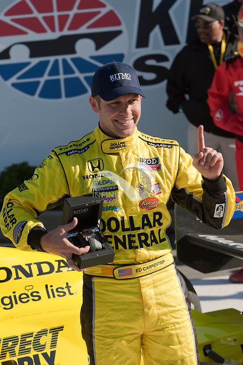 Ed Carpenter of Dollar General Sarah Fisher Racing wins at Kentucky Motor Speedway.