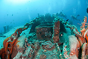 Underwater photography of a sunken ship wreck. Ras Mohammed National Park, Red Sea, Sinai, Egypt,