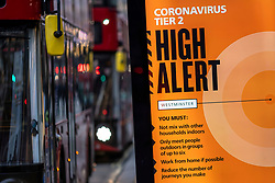 © Licensed to London News Pictures. 10/12/2020. London, UK. A public health advert about the risk of Coronavirus in central London. Photo credit: Rob Pinney/LNP