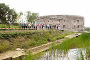 Opening Forten en Stellingenmaand in Fort Uitermeer in Weesp. Opening of the month of the dutch fortress in fortress Uitermeer in Weesp.<br /> <br /> Op de foto - On the photo; De opening met op de achtergrond fort Uitermeer