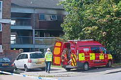 © Licensed to London News Pictures. 20/08/2019.<br /> Orpington ,UK.Fire investigation van. London Fire Brigade, Police and the London Ambulance Service are all in attendence this morning at a serious flat fire in Petten Grove, Orpington, South East London which has seen three people taken to hospital suffering from smoke inhalation one of the three is a child. A police cordon is in place as fire investigation officers work on scene. Photo credit: Grant Falvey/LNP