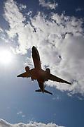 A British Airways Boeing 777 landing at Heathrow airports north runway.