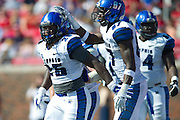 DALLAS, TX - OCTOBER 25:  Jarvis Cooper #25 of the Memphis Tigers celebrates with teammates after rushing for a 1 yard touchdown against the SMU Mustangs during the 2nd quarter on October 25, 2014 at Gerald J. Ford Stadium in Dallas, Texas.  (Photo by Cooper Neill/Getty Images) *** Local Caption *** Jarvis Cooper