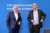 """25 AUG 2020, BERLIN/GERMANY:<br /> Ulrich Silberbach (L), Bundesvorsitzender Deutscher Beamtenbund, dbb, und Frank Werneke (R), Vorsitzender ver.di Dienstleistungsgewerkschaft, vor Beginn der Pressekonferenz """"Forderungsaufstellung zur Einkommensrunde fuer den oeffentlichen Dienst von Bund und Kommunen"""", Hotel Maritim ProArte<br /> IMAGE: 20200825-01-002"""
