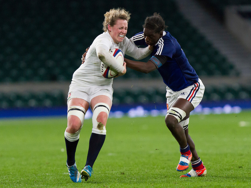 Amber Reed in action, England Women v France Women in the 6 Nations at Twickenham Stadium, Twickenham, England, on 21st March 2015