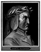 The 14th century c Italian poet Dante Alighieri, author of the Divine Comedy. 1860 artwork, by French artist Gustave Dore and engraved by Stephane Pannemaker, being the frontispiece from 'The Vision of Hell' (1868), Cary's English translation of the Inferno Dante wrote his epic poem 'Divina Commedia' (The Divine Comedy) between 1308 and his death in 1321. Consisting of 14,233 lines, and divided into three parts (Inferno, Purgatorio, and Paradiso), it is considered the greatest literary work in the Italian language and a world masterpiece. It is a comprehensive survey of medieval theology, literature and thought. The new non-dialect poetic language Dante created became the basis of modern Italian.
