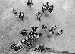 Children on climbing wall, UK 1989