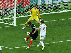 July 11, 2018 - Moscow, Russia - July 11, 2018, Moscow, FIFA World Cup 2018 Football, the playoff round. 1/2 finals of the World Cup. Football match Croatia - England at the stadium Luzhniki. Player of the national team Jordan Pickford (1), Mario Manjukic  (Credit Image: © Russian Look via ZUMA Wire)
