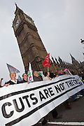 TUC March for the Alternative 26 March 2011 Union leaders pass the housr of Commons, Westminster, London.