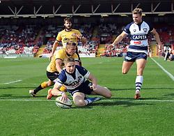 Bristol Full Back Auguy Slowik scores a try  - Photo mandatory by-line: Joe Meredith/JMP - Mobile: 07966 386802 - 21/09/2014 - SPORT - FOOTBALL - Bristol - Ashton Gate - Bristol Rugby v Cornish Pirates - Greene King IPA Championship