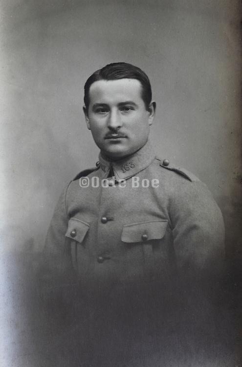 vintage studio portrait of French soldier 1921