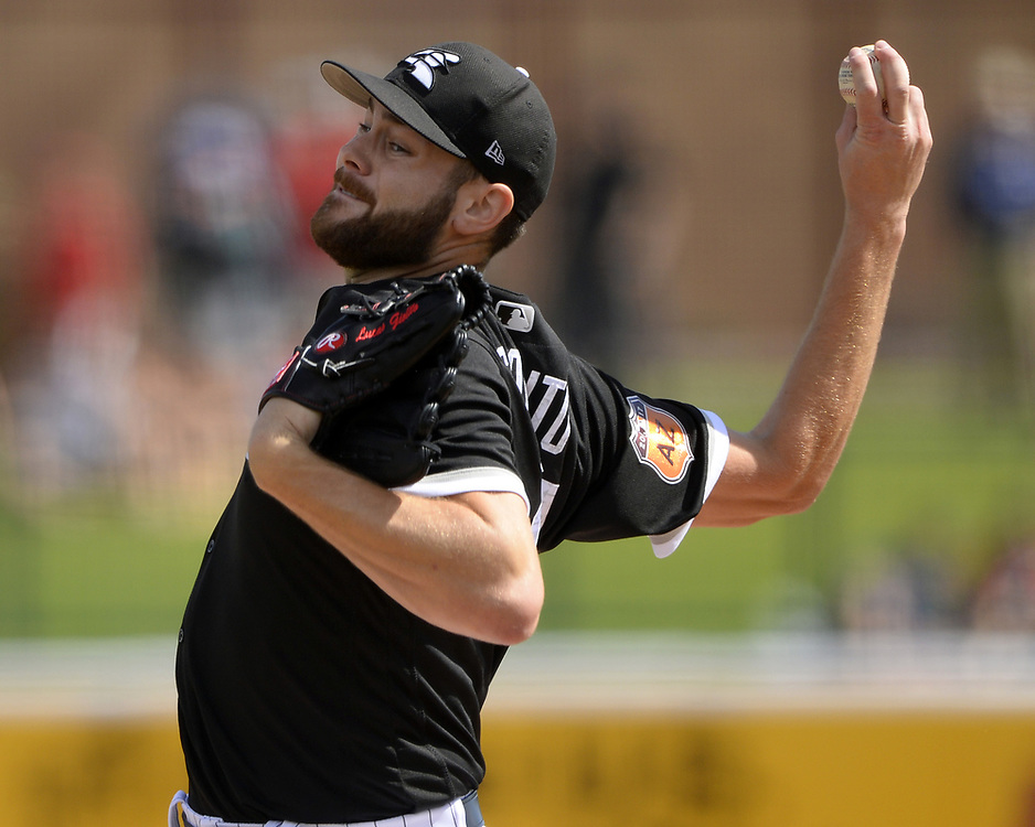 GLENDALE, ARIZONA - MARCH 4:  Lucas Giolito #27 of the Chicago White Sox pitches during the spring training game against the Los Angeles Angels of Anaheim on March 4, 2017 at Camelback Ranch in Glendale Arizona.  (Photo by Ron Vesely)   Subject:  Lucas Giolito