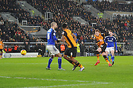 Hull City midfielder Sam Clucas (11) scores goal to go 2-0 up during the Sky Bet Championship match between Hull City and Cardiff City at the KC Stadium, Kingston upon Hull, England on 13 January 2016. Photo by Ian Lyall.