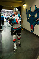 KELOWNA, CANADA - APRIL 8: James Hilsendager #2 of the Kelowna Rockets heads for the dressing room after warm up against the Portland Winterhawks on April 8, 2017 at Prospera Place in Kelowna, British Columbia, Canada.  (Photo by Marissa Baecker/Shoot the Breeze)  *** Local Caption ***