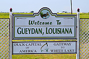 Gueydan, Louisiana, USA. The town is the site of the annual Duck Festival,which is held the weekend before Labor Day, and is officially recognized as the Duck Capital of America. The Louisiana state championships for duck and goose calling are held in conjunction with the festival.