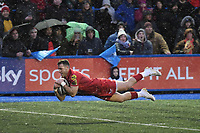 Rugby Union - 2017 / 2018 Guinness Pro14 - Cardiff Blues vs. Scarlets<br /> <br /> Gareth Davies  of Llanelli Scarlets  scores a try , at Cardiff Arms Park.<br /> <br /> COLORSPORT/WINSTON BYNORTH