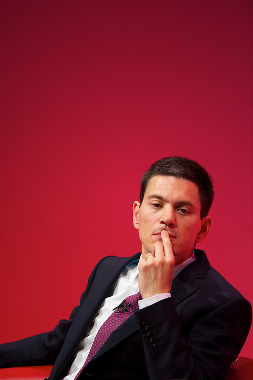 David Miliband strikes a contemplative mood during the Labour Autumn Conference in Manchester on 27 September 2010.