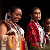 Sierra Vail, center, at the Gallup Inter-tribal Ceremonial Queen contemporary and traditional talent competition at the El Morro Theatre, Thursday, August 9, 2018.