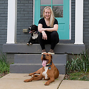 Taylor Wallace and her two dogs Finnigan and Winslow