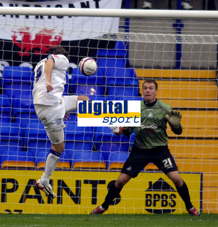 Photo: Jed Wee/Sportsbeat Images.<br /> Tranmere Rovers v Swansea City. Coca Cola League 1. 24/11/2007.<br /> <br /> Swansea goalkeeper Dorus De Vries stands strong to save at close range from Tranmere's Gareth Taylor.