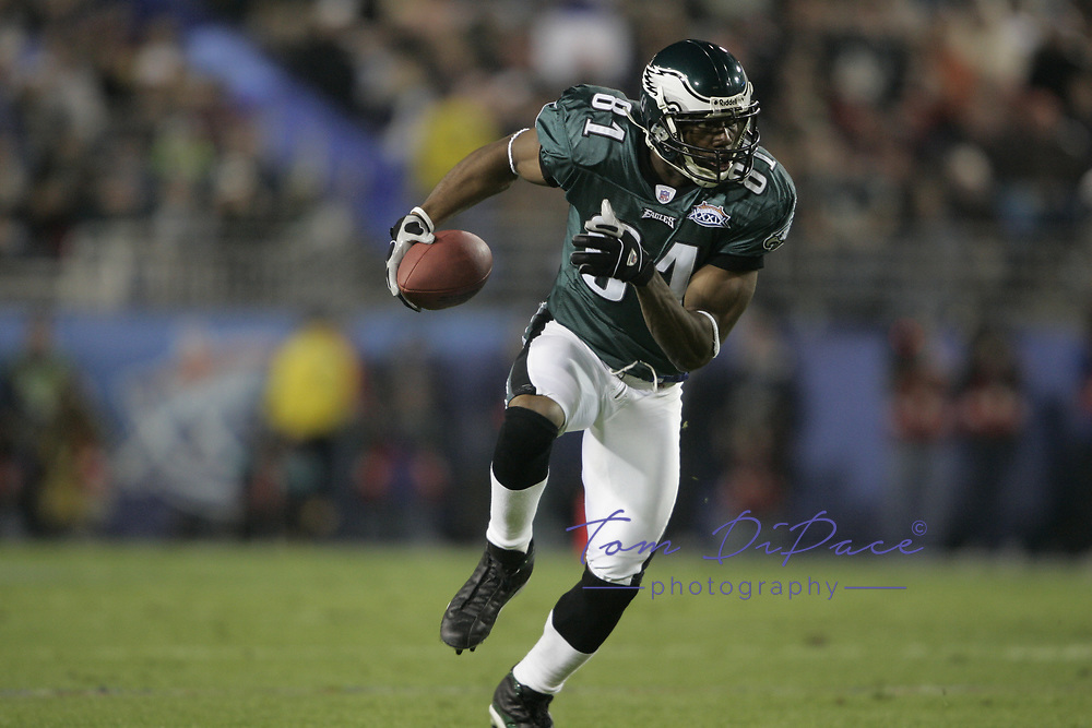 Philadelphia Eagles Terrell Owens plays in Superbowl XXXVIIII game against the NEW England Patriots<br /> (Tom DiPace)