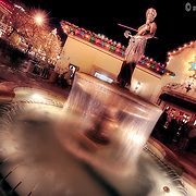 Fountain at the Country Club Plaza, Kansas City, Missouri with Plaza Lights lit during the holiday season.