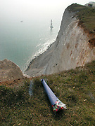 Beachy Head is a chalk headland in Southern England, close to the town of Eastbourne in the county of East Sussex, immediately east of the Seven Sisters. The cliff there is the highest chalk sea cliff in Britain, rising to 162m (530ft) above sea level. Its height has also made it one of the most notorious suicide spots in the world.
