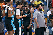THOUSAND OAKS, CA Sunday, August 12, 2018 - Nike Basketball Academy. De'Vion Harmon 2019 #12 of John H. Guyer HS and Cole Anthony 2019 #4 of Oak Hill Academy have a discussion on the bench. <br /> NOTE TO USER: Mandatory Copyright Notice: Photo by Jon Lopez / Nike