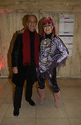 """David Sassoon and Zandra Rhodes. The private views for Anna Piaggi's exhibition """"Fashion-ology"""" and also 'Popaganda: the life and style of JC de Castelbajacat' the Victoria & Albert Museum on January 31  2006. © Copyright Photograph by Dafydd Jones 66 Stockwell Park Rd. London SW9 0DA Tel 020 7733 0108 www.dafjones.com"""