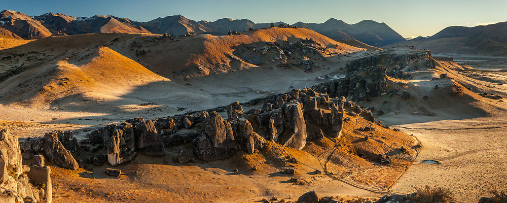 Castle Hill boulders at dawn, near Porter's Pass, Canterbury, New Zealand.