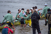 Greater London. United Kingdom, Victorious Cambridge Blue Boat and Goldie celebrate after a double win in the Men's  University Boat Race , Cambridge University vs Oxford University Putney to Mortlake,  Championship Course, River Thames, London. <br /> <br /> Saturday  24.03.18<br /> <br /> [Mandatory Credit:Peter SPURRIER/Intersport Images]