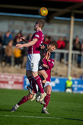 Arbroath's Colin Hamilton and Clyde's David Goodwillie. Arbroath 0 v 2 Clyde, Tunnocks Caramel Wafer Challenge Cup 4th Round, played 12/10/2019 at Arbroath's home ground, Gayfield Park.