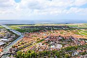 Nederland, Zeeland, Schouwen-Duiveland, 09-05-2013; Zierikzee met Sint-Lievensmonstertoren.<br /> Zierikzee, located on the island of Schouwen, Zealand.<br /> luchtfoto (toeslag op standard tarieven)<br /> aerial photo (additional fee required)<br /> copyright foto/photo Siebe Swart