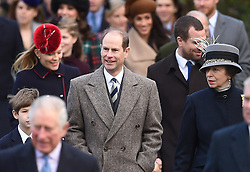 James, Viscount Severn, The Earl of Wessex and Princess Royal arriving to attend the Christmas Day morning church service at St Mary Magdalene Church in Sandringham, Norfolk.