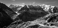 Views of the Aiguilles de Chamonix & Mont Blanc from the Chamonix Lac Blanc walking trail.