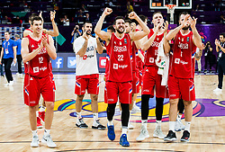 Dragan Milosavljevic of Serbia, Vasilje Micic of Serbia, Vladimir Stimac of Serbia, Milan Macvan of Serbia celebrate after winning during basketball match between National Teams of Russia and Serbia at Day 16 in Semifinal of the FIBA EuroBasket 2017 at Sinan Erdem Dome in Istanbul, Turkey on September 15, 2017. Photo by Vid Ponikvar / Sportida