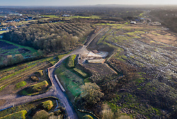 VIDEO AVAILABLE : https://we.tl/t-SQVmqbvcNl© Licensed to London News Pictures. 29/01/2020. London, UK. The route of the High Speed Two (HS2) rail line can be seen to the south of Newyears Green Covert (L), a woodland area in the London Borough of Hillingdon.  A government decision is expected soon on whether the HS2 rail project will fully go ahead with some budget estimates showing a cost of £70-£80bn. Photo credit: Peter Macdiarmid/LNP