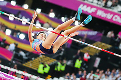 London, August 12 2017 . Eventual  winner Maria Lasitskene, Approved Neutral Athlete, in the women's high jump final on day nine of the IAAF London 2017 world Championships at the London Stadium. © Paul Davey.